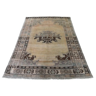 "Shahbanu Rugs Washed Out Pure Wool Afghan Baluch Hand-Knotted Oriental Rug (4'0"" x 6'0"") - 4'0"" x 6'0"""