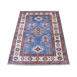 "Shahbanu Rugs Super Kazak Pure Wool Geometric Design Hand-Knotted Oriental Rug (2'9"" x 4'0"") - 2'9"" x 4'0"""
