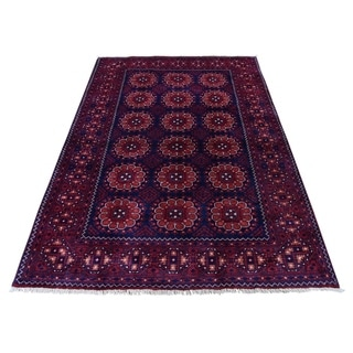 "Shahbanu Rugs Afghan Khamyab Dense Weave Silky Wool Hand Knotted Oriental Rug (4'1"" x 6'3"") - 4'1"" x 6'3"""