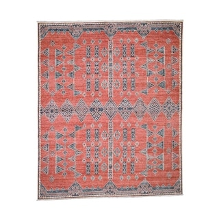 """Shahbanu Rugs Pure Wool Peshawar with Southwest Motifs Hand-Knotted Rug (8'3"""" x 9'9"""") - 8'3"""" x 9'9"""""""