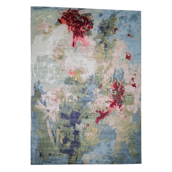 """Shahbanu Rugs Wool And Silk Abstract Design Hi And Lo Pile Rug Hand-Knotted Rug (10'0"""" x 14'2"""") - 10'0"""" x 14'2"""""""