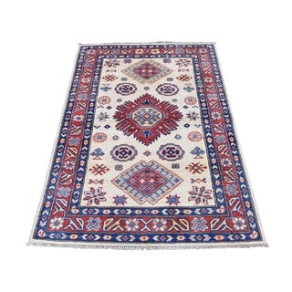 "Shahbanu Rugs Special Kazak Pure Wool Hand-Knotted Geometric Design Oriental Rug (3'0"" x 4'7"") - 3'0"" x 4'7"""