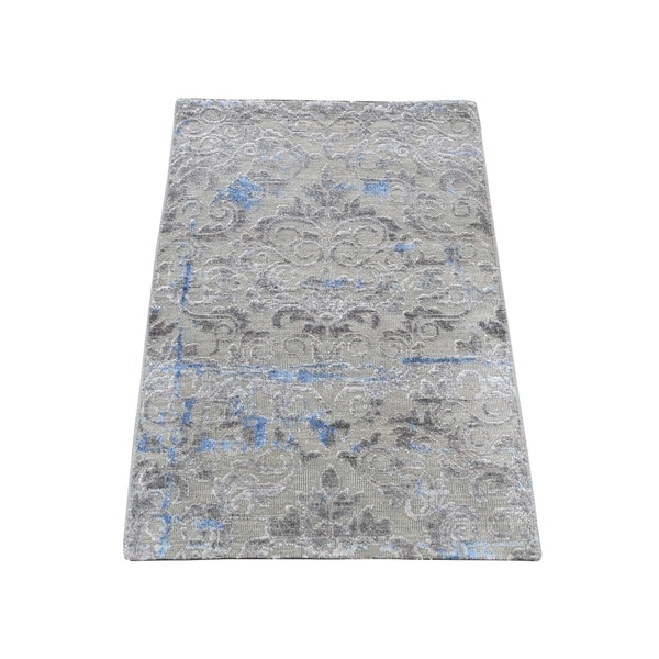 """Shahbanu Rugs Pure Silk With Oxidized Wool Trellis Garden Design Hand-Knotted Rug (2'0"""" x 3'1"""") - 2'0"""" x 3'1"""""""