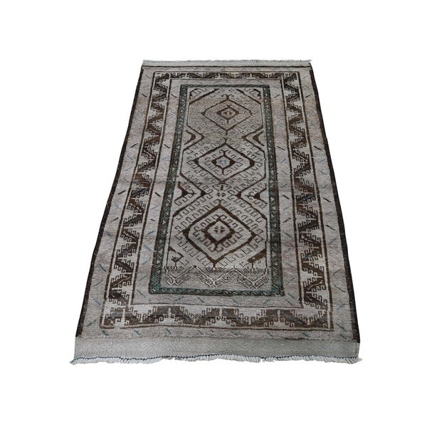 "Shahbanu Rugs Vintage Afghan Baluch Natural Color Hand-Knotted Pure Wool Rug (2'8"" x 4'4"") - 2'8"" x 4'4"""