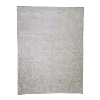 """Shahbanu Rugs Hand-Knotted White Wash Vintage Kerman Sheared Low Oriental Rug (9'5"""" x 12'4"""") - 9'5"""" x 12'4"""""""