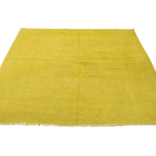 "Shahbanu Rugs Pure Wool Overdyed Peshawar Yellow Hand Knotted Oriental Rug  (4'10"" x 6'6"") - 4'10"" x 6'6"""