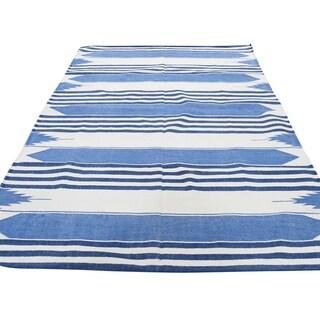 "Shahbanu Rugs Pure Cotton Reversible Durie Kilim Flat Weave Hand Woven Oriental Rug  (6'0"" x 9'0"") - 6'0"" x 9'0"""