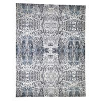 "Shahbanu Rugs Hi-Low Pile Abstract Design Wool And Silk Hand-Knotted Modern Rug (9'0"" x 11'10"") - 9'0"" x 11'10"""