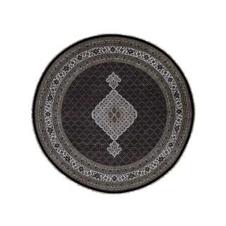 "Shahbanu Rugs Wool and Silk Hand-Knotted Tabriz Mahi Round Oriental Rug (8'1"" x 8'2"") - 8'1"" x 8'2"""