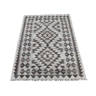 "Shahbanu Rugs Undyed Natural Wool Afghan Kilim Reversible Hand Woven Oriental Rug (2'9"" x 3'4"") - 2'9"" x 3'4"""