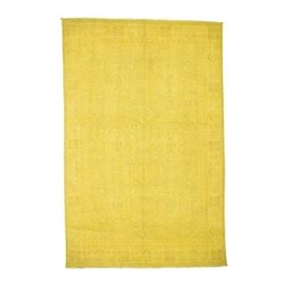 "Shahbanu Rugs Pure Wool Overdyed Peshawar Yellow Hand Knotted Oriental Rug  (6'0"" x 9'1"") - 6'0"" x 9'1"""