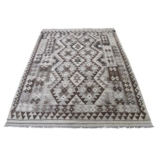 "Shahbanu Rugs Undyed Natural Wool Afghan Kilim Reversible Hand Woven Oriental Rug (4'3"" x 6'2"") - 4'3"" x 6'2"""