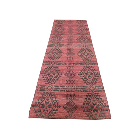 "Shahbanu Rugs Hand-Woven Reversible Kilim Flat Weave Runner Oriental Rug (2'7"" x 10'1"") - 2'7"" x 10'1"""