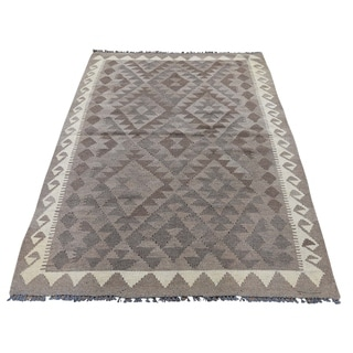 "Shahbanu Rugs Undyed Natural Wool Afghan Kilim Reversible Hand Woven Oriental Rug (4'0"" x 6'0"") - 4'0"" x 6'0"""