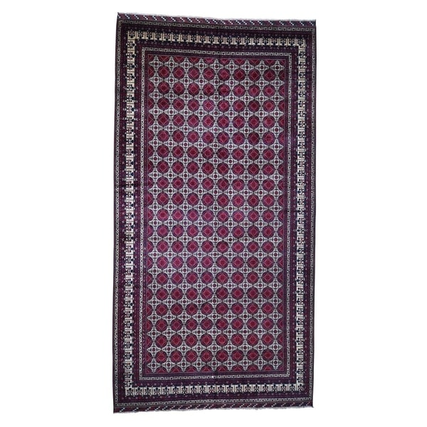 "Shahbanu Rugs Gallery Size Afghan Khamyab Pure Wool Hand Knotted Oriental Rug (10'0"" x 19'2"") - 10'0"" x 19'2"""