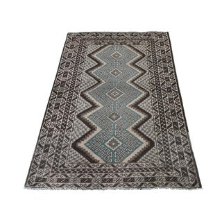 "Shahbanu Rugs Vintage Afghan Baluch Natural Color Hand-Knotted Pure Wool Rug (2'9"" x 4'5"") - 2'9"" x 4'5"""