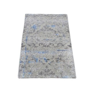 """Shahbanu Rugs Pure Silk With Oxidized Wool Trellis Garden Design Hand-Knotted Rug (2'0"""" x 3'2"""") - 2'0"""" x 3'2"""""""