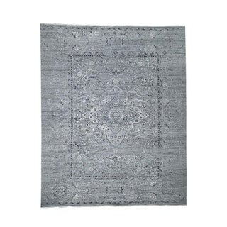 "Shahbanu Rugs Silk With Oxidized Wool Broken Persian Design Hand-Knotted Rug (8'3"" x 10'1"") - 8'3"" x 10'1"""