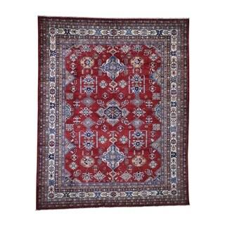 "Shahbanu Rugs Super Kazak Pure Wool Geometric Design Hand-Knotted Oriental Rug (8'4"" x 10'2"") - 8'4"" x 10'2"""