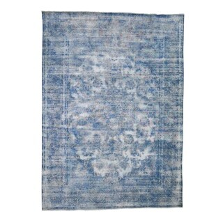 "Shahbanu Rugs Overdyed Blue Kerman Pure Wool Hand-Knotted Worn Pile Oriental Rug  (7'2"" x 9'10"") - 7'2"" x 9'10"""