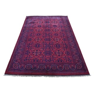 "Shahbanu Rugs Afghan Khamyab Vegetable Dyes Pure Wool Hand-Knotted Oriental Rug (4'2"" x 6'8"") - 4'2"" x 6'8"""