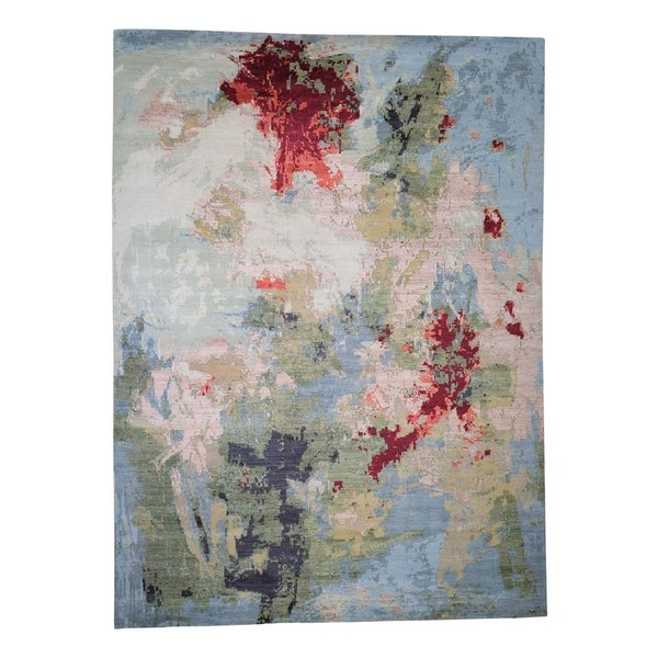 Shahbanu Rugs Wool And Silk Hi Lo Pile Abstract Design Hand Knotted Oriental Rug