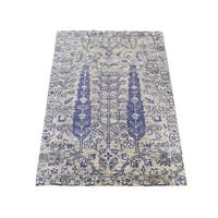 "Shahbanu Rugs Willow And Cypress Tree Design Wool And Silk Hand-Knotted Rug (2'0"" x 3'1"") - 2'0"" x 3'1"""