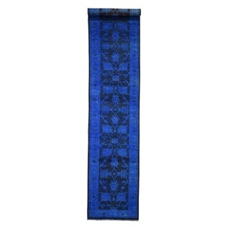 "Shahbanu Rugs Overdyed Peshawar Hand-Knotted Runner Pure Wool Oriental Rug  (2'8"" x 12'3"") - 2'8"" x 12'3"""