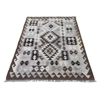 "Shahbanu Rugs Undyed Afghan Kilim Natural Wool Reversible Hand Woven Oriental Rug (3'5"" x 5'2"") - 3'5"" x 5'2"""