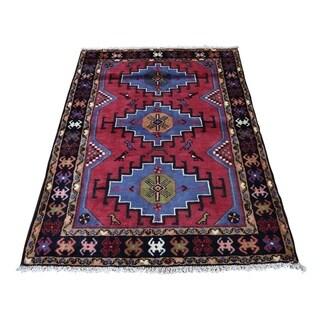 "Shahbanu Rugs Vintage Persian Hamadan Pure Wool Hand-Knotted Oriental Rug (3'7"" x 5'0"") - 3'7"" x 5'0"""