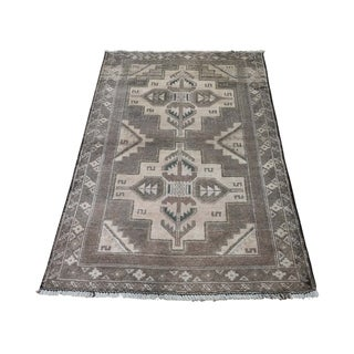 "Shahbanu Rugs Vintage Afghan Baluch Natural Color Hand-Knotted Pure Wool Rug (2'8"" x 4'6"") - 2'8"" x 4'6"""