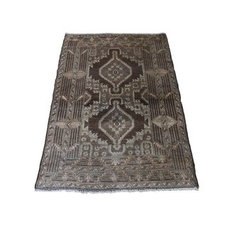 "Shahbanu Rugs Vintage Afghan Baluch Natural Color Hand-Knotted Pure Wool Rug (2'8"" x 4'2"") - 2'8"" x 4'2"""
