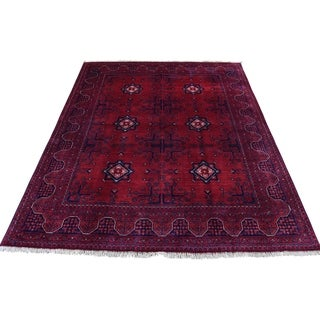 "Shahbanu Rugs Afghan Khamyab Vegetable Dyes Pure Wool Hand-Knotted Oriental Rug (5'0"" x 6'6"") - 5'0"" x 6'6"""