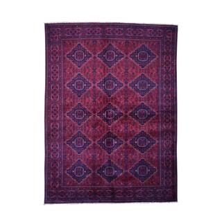 "Shahbanu Rugs Hand-Knotted Pure Wool Afghan Khamyab Oriental Rug (5'7"" x 7'7"") - 5'7"" x 7'7"""