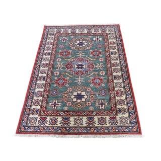 "Shahbanu Rugs Super Kazak Pure Wool Geometric Design Hand-Knotted Oriental Rug (2'9"" x 4'2"") - 2'9"" x 4'2"""