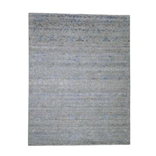"Shahbanu Rugs Pure Silk With Oxidized Wool Trellis Garden Design Oriental Rug (7'10"" x 10'2"") - 7'10"" x 10'2"""