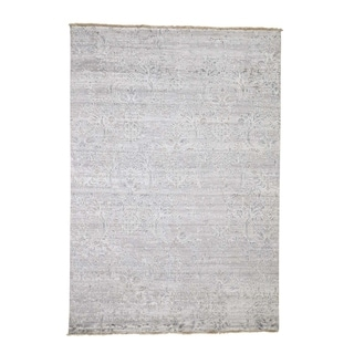 "Shahbanu Rugs Hand-Knotted Broken Design Wool and Silk Tone on Tone Oriental Rug (6'0"" x 8'9"") - 6'0"" x 8'9"""