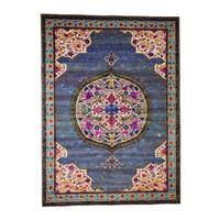 "Shahbanu Rugs Star Oushak Medallion Design With Colorful Sari Silk Hand-Knotted Rug (8'10"" x 12'2"") - 8'10"" x 12'2"""