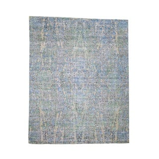 """Shahbanu Rugs THE WATER LILIES Silk With Oxidized Wool Hand-Knotted Oriental Rug (7'10"""" x 10'0"""") - 7'10"""" x 10'0"""""""