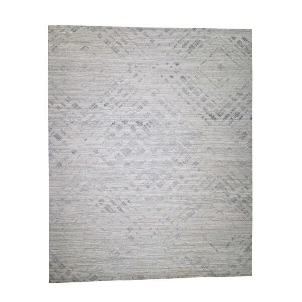 "Shahbanu Rugs Oversize Hand Spun Undyed Natural Wool Modern Hand-Knotted Rug (12'0"" x 14'10"") - 12'0"" x 14'10"""