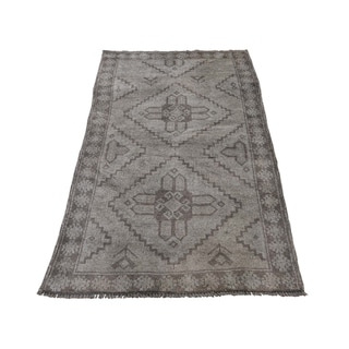 "Shahbanu Rugs Vintage Afghan Baluch Natural Color Hand-Knotted Pure Wool Rug (2'8"" x 4'7"") - 2'8"" x 4'7"""