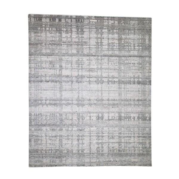 "Shahbanu Rugs Hand Spun Undyed Natural Wool Modern Hand-Knotted Oriental Rug (8'0"" x 9'10"") - 8'0"" x 9'10"""