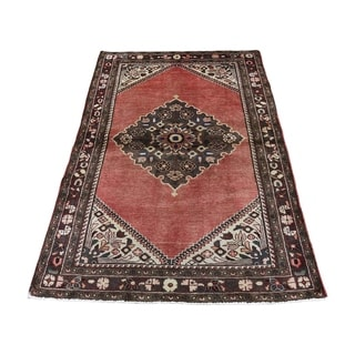 """Shahbanu Rugs Vintage Persian Hamadan Exc Condition Hand-Knotted Pure Wool Rug (3'3"""" x 5'3"""") - 3'3"""" x 5'3"""""""