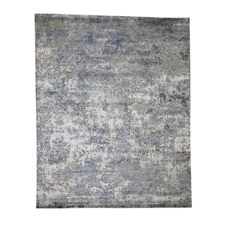 "Shahbanu Rugs Hi-Low Pile Abstract Design Wool And Silk Hand-Knotted Modern Rug (7'10"" x 9'9"") - 7'10"" x 9'9"""
