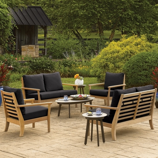 Oxford Garden Mera Natural Shorea Loveseat - Black Onyx Cushions
