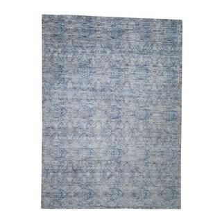 "Shahbanu Rugs Silk With Oxidized Wool Denim Blue Erased Rossette Design Rug (8'9"" x 12'0"") - 8'9"" x 12'0"""