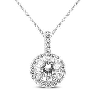 1 Carat TW Signature Quality (H-I Color, SI1-SI2 Clarity) Halo Diamond Pendant in 14K White Gold