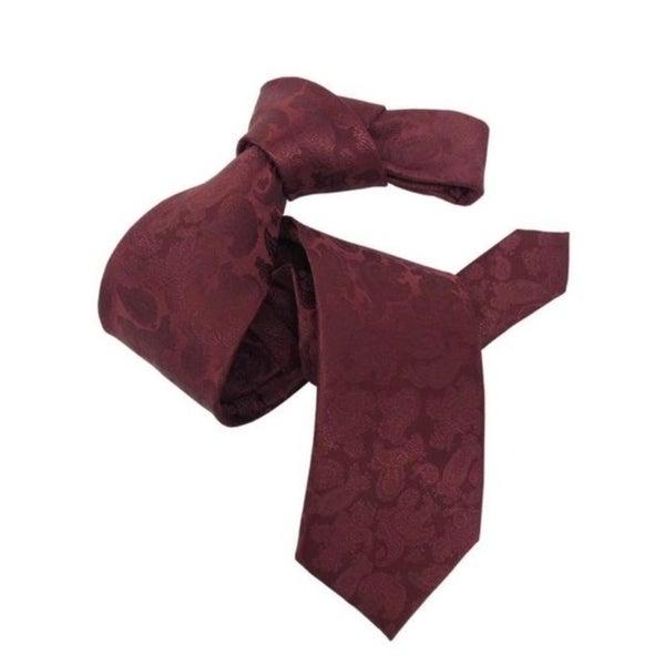 DMITRY Mens Burgundy Paisley Italian Silk Tie
