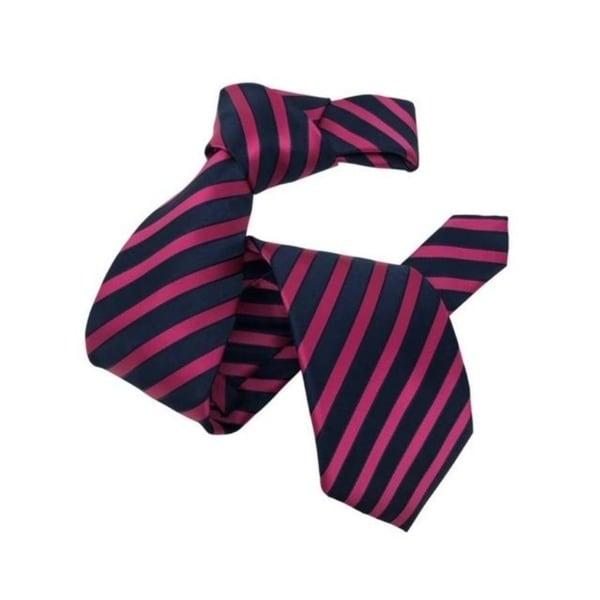DMITRY Mens Pink/Navy Striped Italian Silk Tie