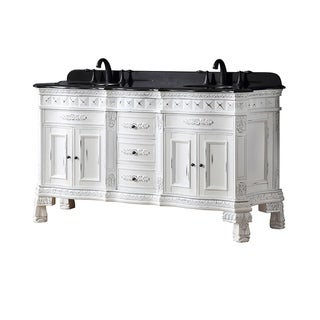 OVE Decors Daventry 60 in. White Sink Vanity with Black Granite Top